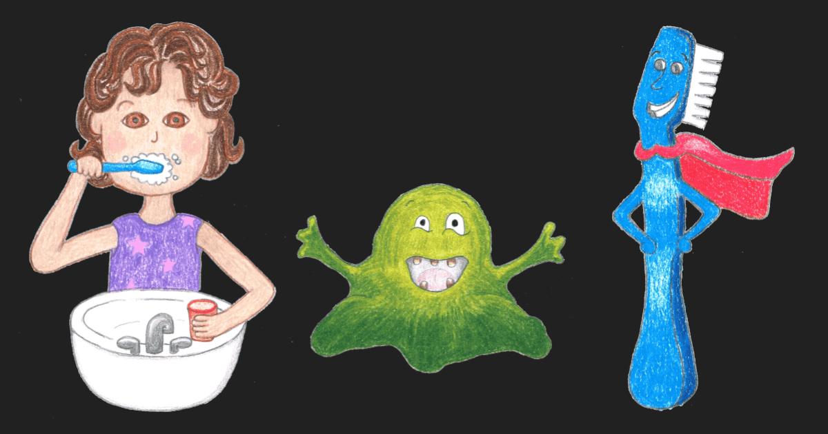 The characters from Bye Bye Germs. Emma, Jerry the Germ, Timmy the Toothbrush