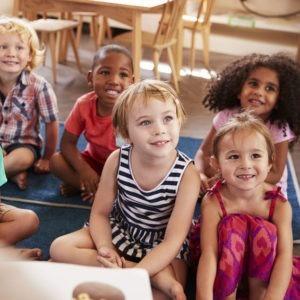 Preschool kids Listening to a book